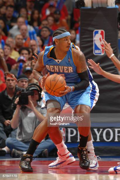 Carmelo Anthony of the Denver Nuggets posts up against the Los Angeles Clippers in game five of the Western Conference Quarterfinals during the 2006...