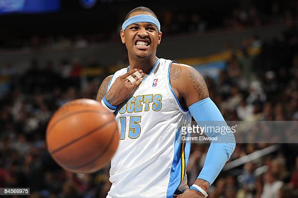 Carmelo Anthony of the Denver Nuggets reacts to a play against the Charlotte Bobcats on January 30 2009 at the Pepsi Center in Denver Colorado NOTE...