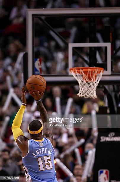 Carmelo Anthony of the Denver Nuggets shoots a free throw against the Portland Trail Blazers on November 18 2010 at the Rose Garden in Portland...