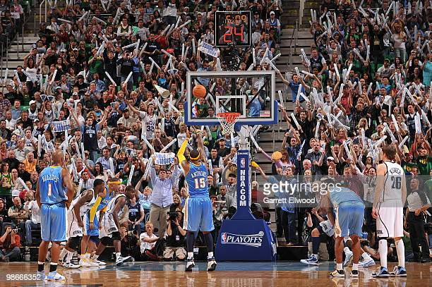 Carmelo Anthony of the Denver Nuggets shoots a free throw against the Utah Jazz in Game Four of the Western Conference Quarterfinals during the 2010...