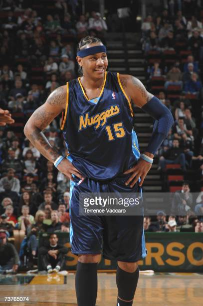 Carmelo Anthony of the Denver Nuggets smiles after their victory over the Seattle SuperSonics on APRIL 1 2007 at the Key Arena in Seattle Washington...