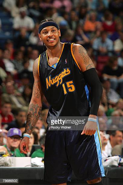 Carmelo Anthony of the Denver Nuggets smiles during the game against the Sacramento Kings at Arco Arena on March 11 2007 in Sacramento California The...