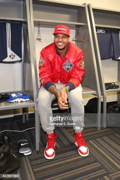 Carmelo Anthony of the Eastern Conference All Star Team smiles and gets ready before NBA AllStar Practice as part of 2017 AllStar Weekend at the...