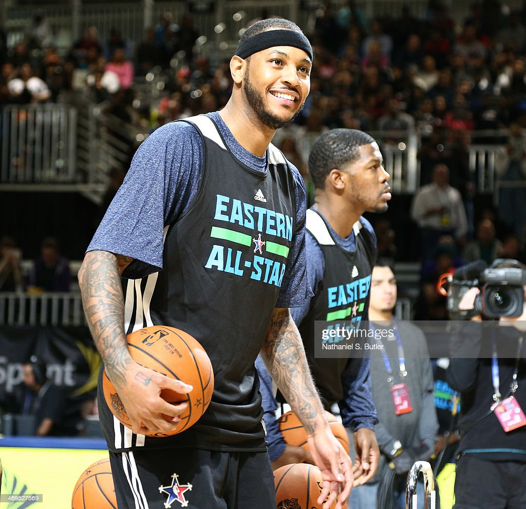 Carmelo Anthony of the Eastern Conference All-Stars smiles during NBA All-Star Practice at Sprint Arena as part of 2014 NBA All-Star Weekend at the Ernest N. Morial Convention Center on February 15, 2014 in New Orleans, Louisiana.