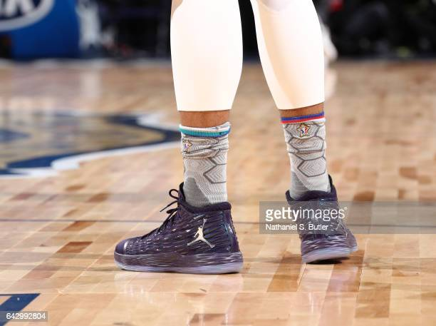 Carmelo Anthony of the Eastern Conference AllStars sneakers during the NBA AllStar Game as part of the 2017 NBA All Star Weekend on February 19 2017...