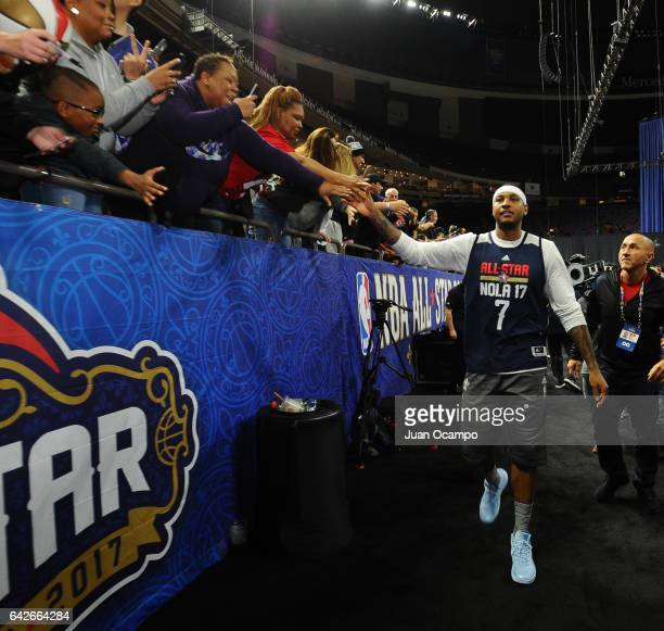 Carmelo Anthony of the Eastern Conference AllStars walks during the NBA DLeague All Star Game as part of 2017 AllStar Weekend at the MercedesBenz...