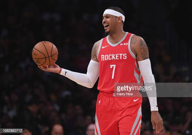 Carmelo Anthony of the Houston Rockets reacts to his offensive foul during a 124-115 win over the Los Angeles Lakers at Staples Center on October 20,...