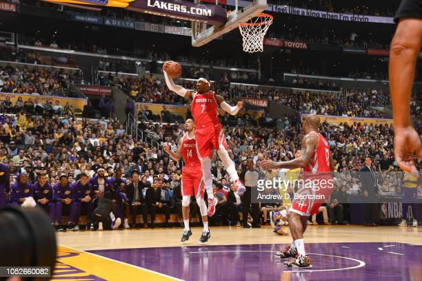 Carmelo Anthony of the Houston Rockets rebounds the ball against the Los Angeles Lakers on October 20 2018 at STAPLES Center in Los Angeles...