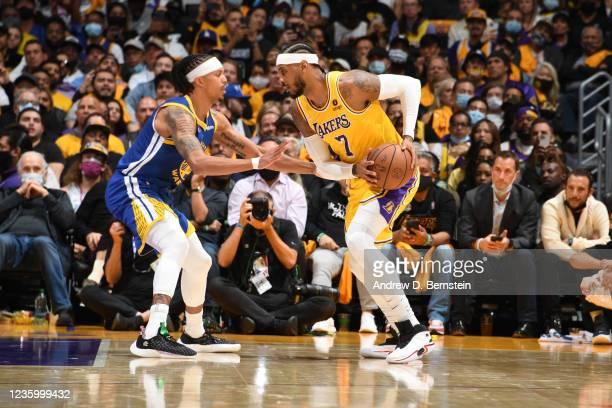 Carmelo Anthony of the Los Angeles Lakers handles the ball against the Golden State Warriors on October 19, 2021 at STAPLES Center in Los Angeles,...
