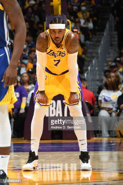 Carmelo Anthony of the Los Angeles Lakers looks on against the Golden State Warriors on October 19, 2021 at STAPLES Center in Los Angeles,...