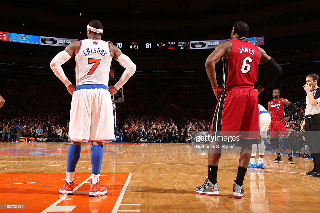 Carmelo Anthony #7 of the New York Knicks and LeBron James #6 of the Miami Heat stand on the court on March 3, 2013 at Madison Square Garden in New York City.