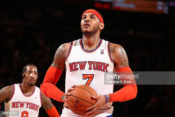 Carmelo Anthony of the New York Knicks attempts a free throw against the Indiana Pacers at Madison Square Garden in New York City on March 19 2014...