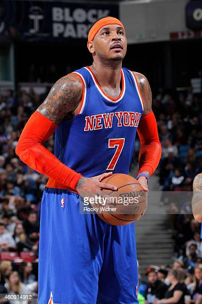 Carmelo Anthony of the New York Knicks attempts a free throw shot against of the Sacramento Kings on December 27 2014 at Sleep Train Arena in...