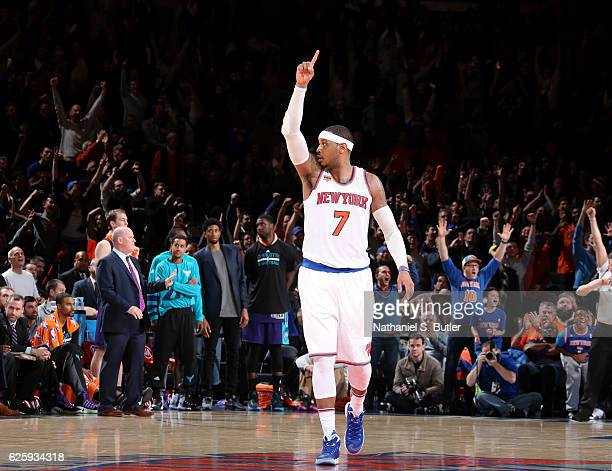 Carmelo Anthony of the New York Knicks celebrates during the game against the Charlotte Hornets at Madison Square Garden in New York, New York. NOTE...