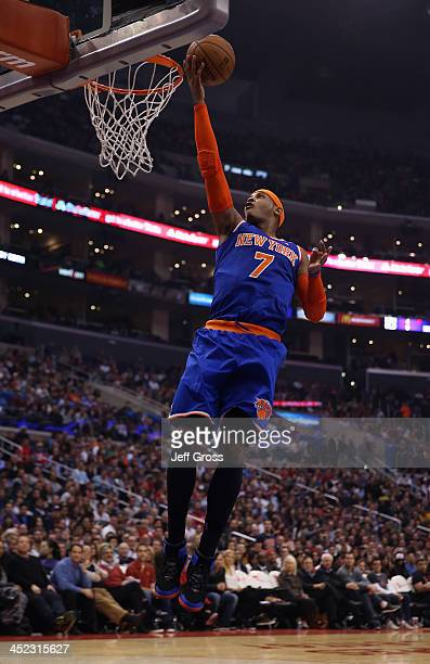 Carmelo Anthony of the New York Knicks drives to the basket for a layup against the Los Angeles Clippers in the first half at Staples Center on...