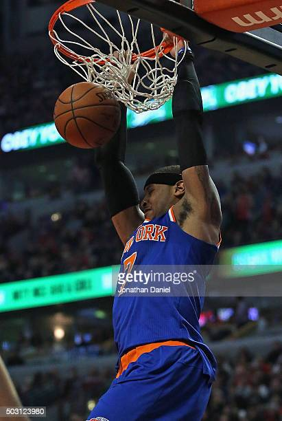 Carmelo Anthony of the New York Knicks dunks against the Chicago Bulls at the United Center on January 1 2016 in Chicago Illinois NOTE TO USER User...