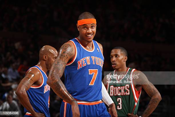 Carmelo Anthony of the New York Knicks during a time out against the Milwaukee Bucks on February 23 2011 at Madison Square Garden in New York City...