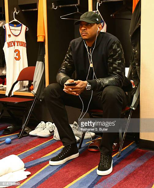 Carmelo Anthony of the New York Knicks gets ready before the game against the Cleveland Cavaliers on October 25 2016 at Quicken Loans Arena in...