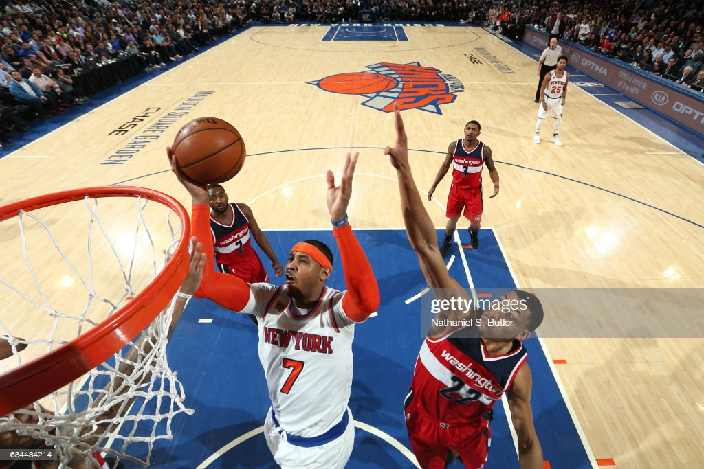 Carmelo Anthony #7 of the New York Knicks goes up for a shot during a game against the Washington Wizards on January 19, 2017 at Madison Square Garden in New York City, New York.