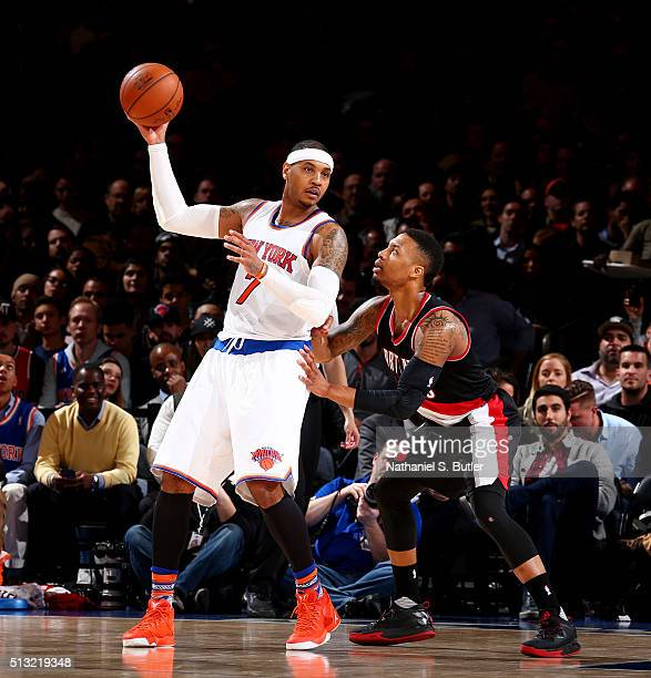 Carmelo Anthony of the New York Knicks handles the ball against the Portland Trail Blazers on March 1 2016 at Madison Square Garden in New York City...