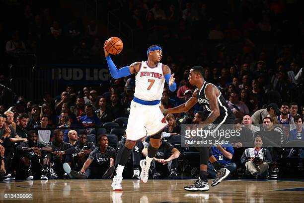 Carmelo Anthony of the New York Knicks handles the ball against the Brooklyn Nets at Madison Square Garden in New York City on OCTOBER 8 2016 NOTE TO...