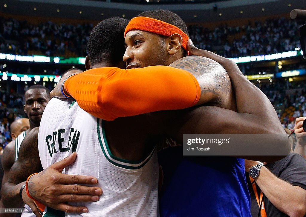 Carmelo Anthony #7 of the New York Knicks hugs Jeff Green #8 of the Boston Celtics after the Knicks defeated the Celtics 88-80 in Game Six of the Eastern Conference Quarterfinals of the 2013 NBA Playoffs on May 3, 2013 at TD Garden in Boston, Massachusetts.