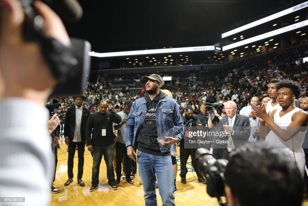 Carmelo Anthony of the New York Knicks making the presentations during the Jordan Brand Classic, National Boys Team All-Star basketball game at The Barclays Center on April 14, 2017 in New York City.