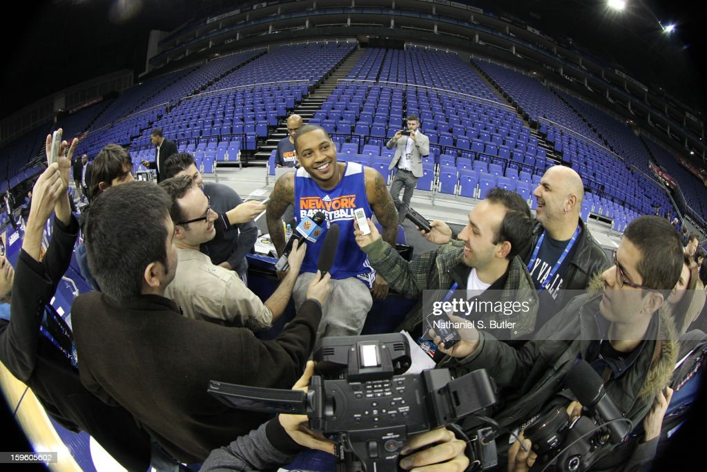 Carmelo Anthony #7 of the New York Knicks meets with media during practice at the 02 Arena on January 17, 2013 in London, England.