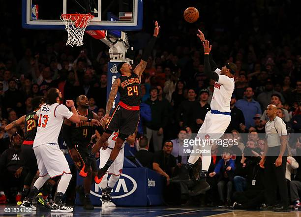 Carmelo Anthony of the New York Knicks misses the game winning shot against the Atlanta Hawks at Madison Square Garden on January 16 2017 in New York...
