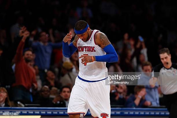 Carmelo Anthony of the New York Knicks plays in a game in which he scored 62 points against the Charlotte Bobcats during their game at Madison Square...