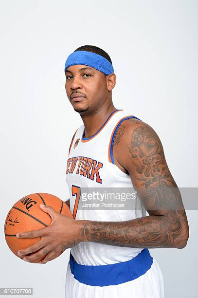 Carmelo Anthony of the New York Knicks poses for a portrait during media day at the Ritz Carlton in White Plains New York on September 26 2016 NOTE...