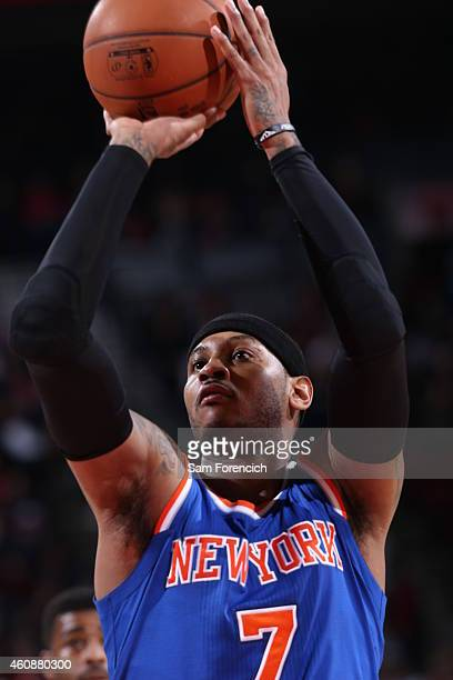 Carmelo Anthony of the New York Knicks prepares to shoot a free throw against the Portland Trail Blazers on December 28 2014 at the Moda Center in...