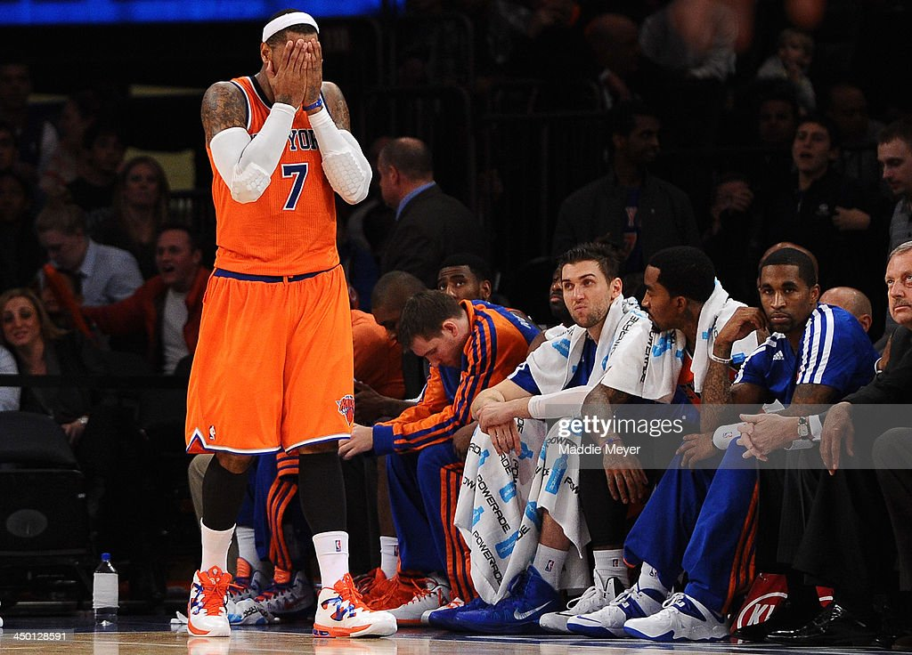 Carmelo Anthony #7 of the New York Knicks reacts after the game against the Atlanta Hawks at Madison Square Garden on November 16, 2013 in New York City. The Hawks defeat the Knicks 110-90.