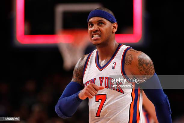 Carmelo Anthony of the New York Knicks reacts in the second half against the Miami Heat in Game Four of the Eastern Conference Quarterfinals in the...