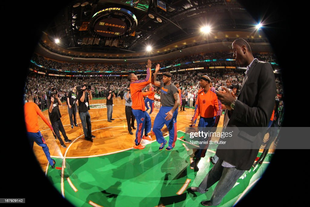 Carmelo Anthony #7 of the New York Knicks runs out before the game against the Boston Celtics in Game Three of the Eastern Conference Quarterfinals during the 2013 NBA Playoffs on April 26, 2013 at the TD Garden in Boston.