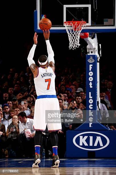 Carmelo Anthony of the New York Knicks shoots a free throw against the Toronto Raptors on February 22 2016 at Madison Square Garden in New York City...