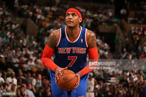 Carmelo Anthony of the New York Knicks shoots a free throw in Game Six of the Eastern Conference Quarterfinals against the Boston Celtics during the...