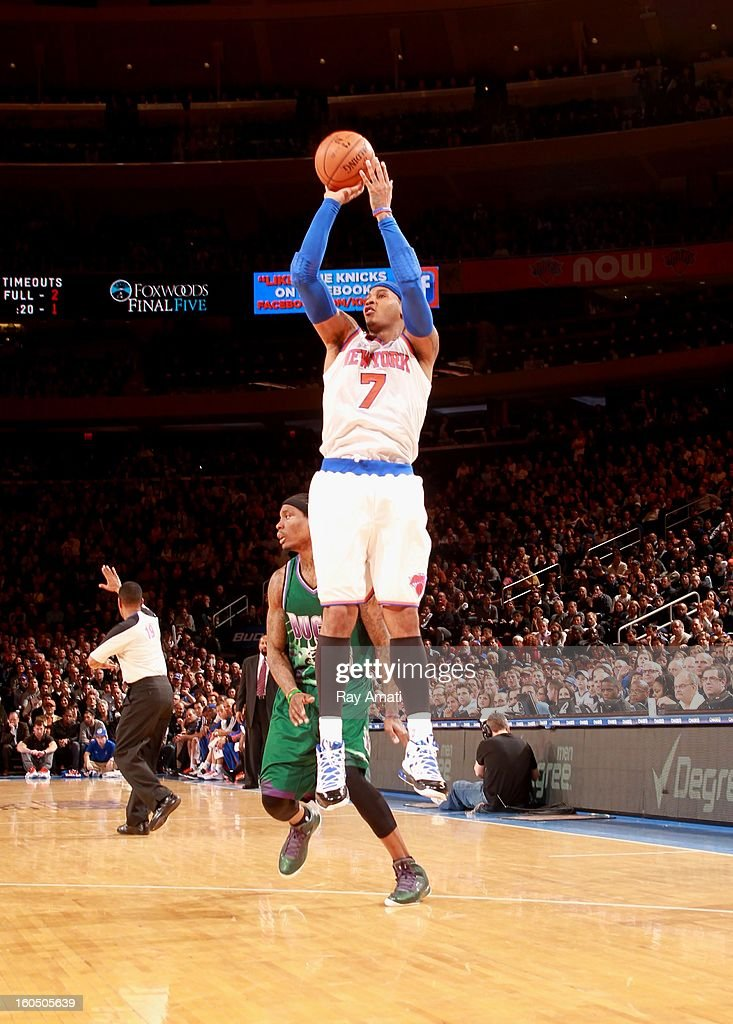 Carmelo Anthony #7 of the New York Knicks shoots a jumper against the Milwaukee Bucks on February 1, 2013 at Madison Square Garden in New York City .