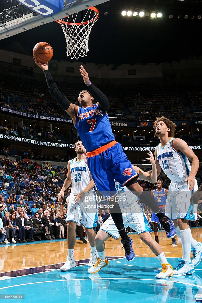 Carmelo Anthony #7 of the New York Knicks shoots a layup against the New Orleans Hornets on November 20, 2012 at the New Orleans Arena in New Orleans, Louisiana.