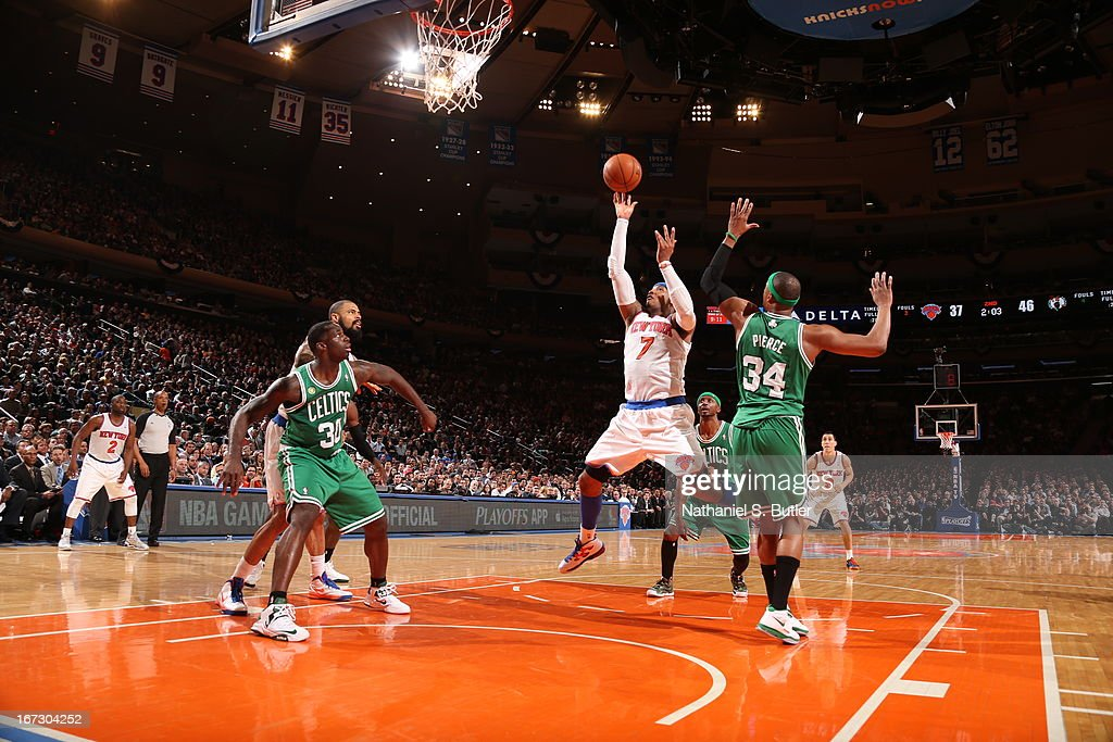 Carmelo Anthony #7 of the New York Knicks shoots the ball against Paul Pierce #34 of the Boston Celtics in Game Two of the Eastern Conference Quarterfinals during the 2013 NBA Playoffs on April 23, 2013 at Madison Square Garden in New York City.