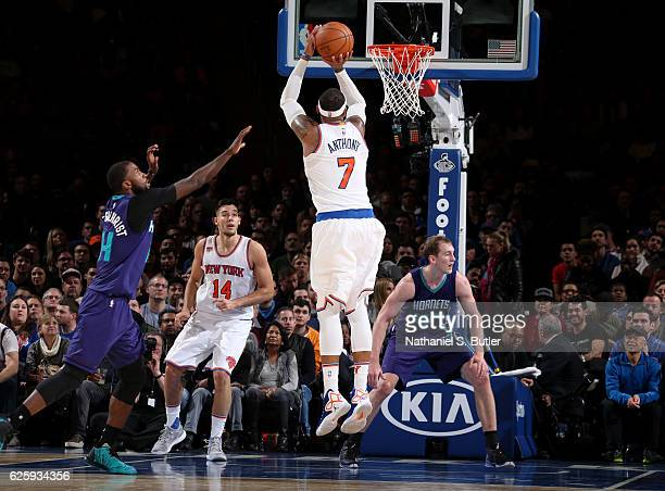 Carmelo Anthony of the New York Knicks shoots the ball against the Charlotte Hornets at Madison Square Garden in New York New York NOTE TO USER User...