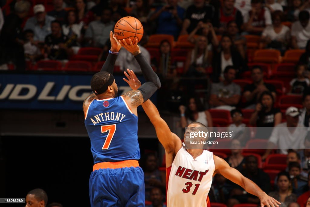 Carmelo Anthony #7 of the New York Knicks shoots the ball during the game against the Miami Heat at the American Airlines Arena in Miami, Florida on April 6, 2014.