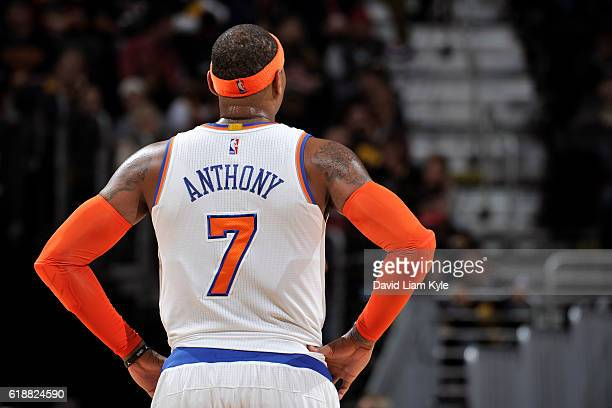 Carmelo Anthony of the New York Knicks stands on the court during the game against the Cleveland Cavaliers on October 25 2016 at Quicken Loans Arena...
