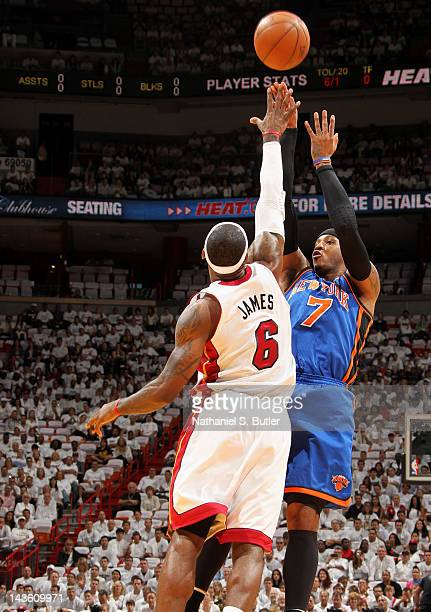 Carmelo Anthony of the New York Knicks takes a jump shot over LeBron James of the Miami Heat in Game Two of the Eastern Conference Quarterfinals...
