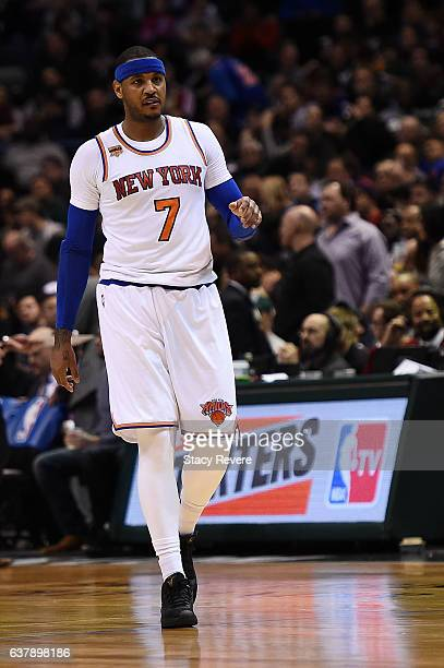 Carmelo Anthony of the New York Knicks walks to the free throw line during a game against the Milwaukee Bucks at BMO Harris Bradley Center on January...