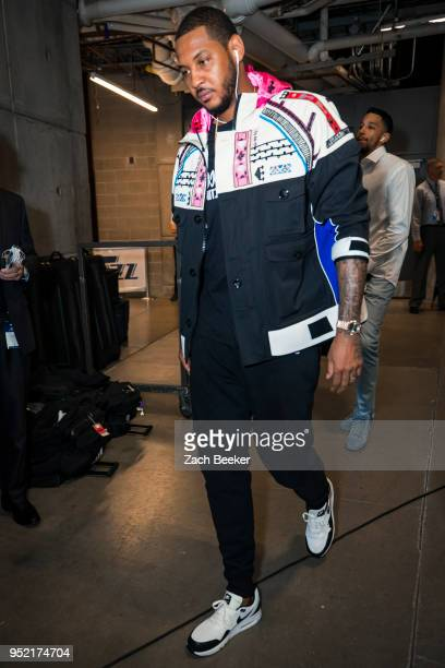 Carmelo Anthony of the Oklahoma City Thunder arrives at the arena before Game Four of Round One of the 2018 NBA Playoffs against the Utah Jazz on...