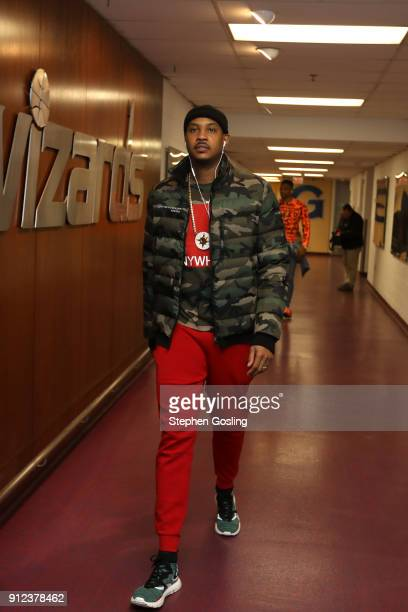Carmelo Anthony of the Oklahoma City Thunder arrives at the stadium before the game against the Washington Wizards on January 30 2018 at Capital One...