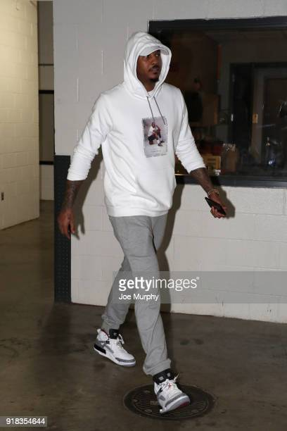 Carmelo Anthony of the Oklahoma City Thunder arrives at the stadium before the game against the Memphis Grizzlies on February 14 2018 at FedExForum...