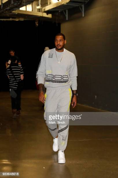 Carmelo Anthony of the Oklahoma City Thunder arrives at the stadium before the game against the Toronto Raptors on March 18 2018 at the Air Canada...