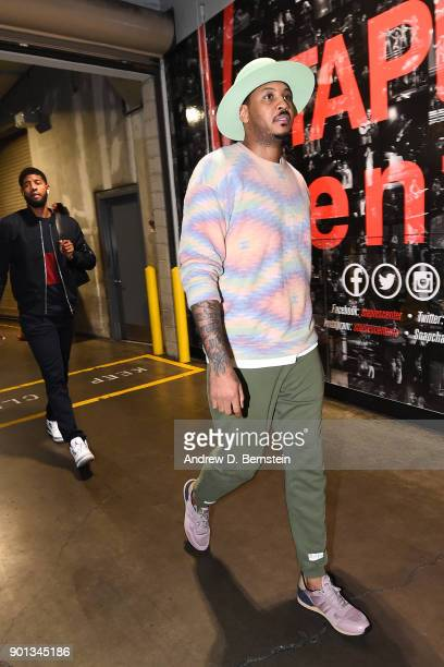 Carmelo Anthony of the Oklahoma City Thunder arrives before the game against the LA Clippers on January 4 2018 at STAPLES Center in Los Angeles...